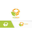 box and leaf logo combination package and vector image vector image