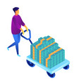 businessman pushing a cart with cash money vector image