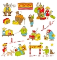 caricature characters with money weapons food vector image vector image