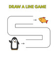 cartoon penguin draw a line game for kids vector image