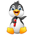 cartoon penguin hold microphone vector image vector image