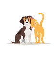cat and beagle dog friendship vector image vector image