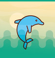 cetacean dolphin sea life cartoon vector image