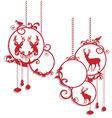 Christmas balls with deers and birds vector image vector image