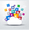cloud storage with network social media icons vector image vector image
