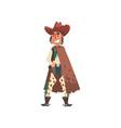 cowboy funny western cartoon character vector image vector image