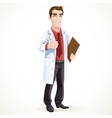 Cute male doctor in medical coat shows gesture vector image vector image