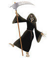 Death in black cloak with scythe dancing party