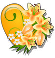 decor form heart orange color decorated with vector image vector image