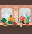 eating out couple in cafe drinks coffee at table vector image vector image