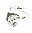 fisherman in boat and trout vector image vector image