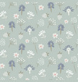 floral meadow pastel blue seamless pattern vector image vector image