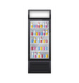 fridge with drinks composition vector image