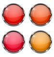 glass buttons red and orange round 3d buttons vector image vector image