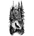 graphic howling wolf with big owl in forest vector image vector image