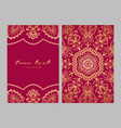 greeting card golden ethnic patterns on red vector image