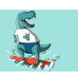 happy dinosaur surfing on water vector image vector image