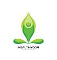 health yoga - logo template concept vector image