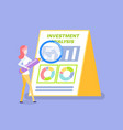 investment analysis woman with magnifying glass vector image vector image