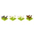 isometric hoofed cattle dunkey horse ram vector image