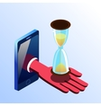 Isometric smartphone showing hand with hourglass vector image vector image