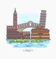italy landmarks pisa piazza san marco trevi vector image