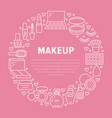 makeup beauty care pink circle poster with flat vector image vector image
