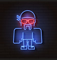 neon bouncer on brick background vector image