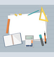 paper with ruler pencil pen and calculator vector image