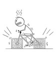 person riding bicycle with square wheels cartoon vector image