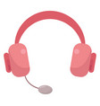 pink headphones on white background vector image vector image