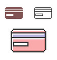 pixel icon bank card in three variants fully vector image vector image