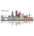 portland oregon city skyline with gray buildings vector image