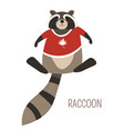 raccoon in t-shirt childish cartoon book character vector image vector image