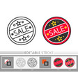 round sticker sale editable stroke thin line icon vector image vector image