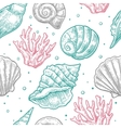 Seamless pattern sea shell engraving vector image vector image