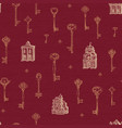 seamless pattern with vintage keys and old vector image vector image