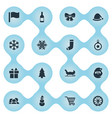 set of simple christmas icons vector image vector image