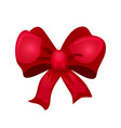 shiny red bow for design merry christmas card vector image