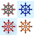 ship steering wheel icon set in flat and line vector image vector image