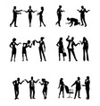 silhouettes of businesspeople in action vector image vector image