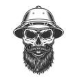 skull in the safari hat vector image vector image