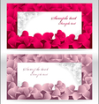 Two post card or frames or banners with red and pi vector image vector image