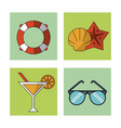 white background with colorful squares with beach vector image vector image