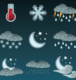 Night weather colour icons set vector image