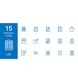 15 list icons vector image vector image