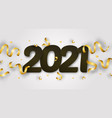 2021 happy new year with 3d realistic numbers vector image vector image