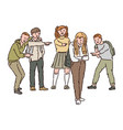 a group children or teenagers scoff show vector image vector image