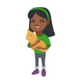 african-american happy girl holding a cat vector image vector image