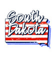 american flag in south dakota state map grunge vector image vector image